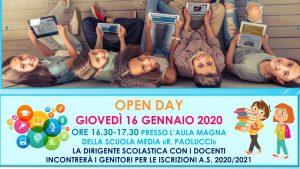 """OPEN DAY ALLA """"PAOLUCCI"""" 16 GENNAIO 2020 ORE 16.30-17.30"""