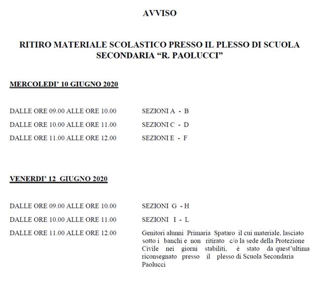 AVVISO RITIRO MATERIALE SCOLASTICO PRESSO I PLESSI DI SCUOLA SECONDARIA E DI SCUOLA PRIMARIA