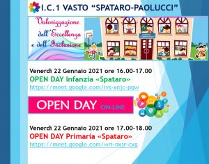 """Open Day On line alla Scuola """"G. Spataro"""" Venerdì 22 gennaio 2021.  Ore 16 per la scuola dell'Infanzia e ore 17 per la scuola Primaria"""